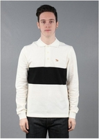 Long Sleeved Stripe Polo Shirt White