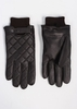 Quilted Leather Gloves - Dark Brown