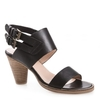 Karen Womens Black Leather Heeled Sandal
