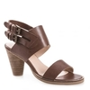Karen Womens Brown Leather Heeled Sandal
