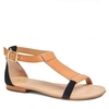 Poise Womens Tan / Black Leather Sandal