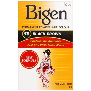 Bigen Permanent Powder Hair Colour - No 58 Black Brown