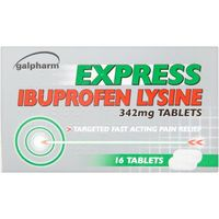 Lip Make Up|Other Drugs  - Galpharm Express Ibuprofen Lysine 342mg Tablets 16s