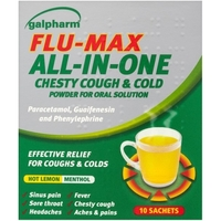 Treatment & Prevention|Coughs & Sneezes|Cold & Flu Remedies  - Galpharm Flu Max All in One Chesty Cough & Cold Sachets