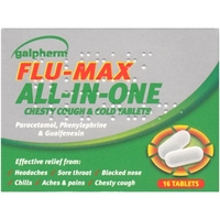 Treatment & Prevention|Coughs & Sneezes|Cold & Flu Remedies  - Galpharm Flu Max All in One Chesty Cough & Cold Tablets
