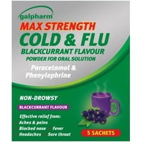 Coughs & Sneezes|Cold & Flu Remedies|Lip Make Up|Pain Relief  - Galpharm Max Strength Cold & Flu Blackcurrant Flavour Sachets 5s