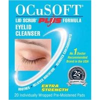 Health & Wellbeing|Lip Make Up|Solutions & Cleaners  - OCuSOFT Lid Scrub Plus Formula Eyelid Cleanser Pads 20s