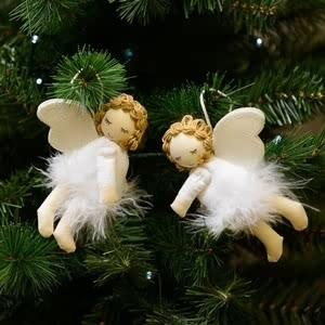 Christmas Decoration  - Felt Flying Angels Tree Decorations - Set Of 2 - By Sia