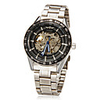 Mens Men's Automatic Mechanical Black Skeleton Dial Silver Steel Band Wrist Watch