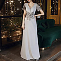 Home & Garden  - Sheath / Column Elegant Floral Party Wear Prom Dress V Neck Short Sleeve Floor Length Stretch Satin with Embroidery Appliques 2020