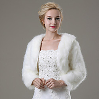Fashion  - 42cm Shrugs Faux Fur Wedding / Party Evening / Casual Fur Coats With Smooth / Fur