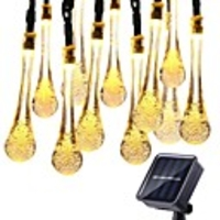 6.5M-30LEDs 12M-100LEDs Solar Light Outdoors Droplet Bulbs Solar Lamp Waterproof RGB Fairy String Solar Lights For Garden Holiday Decor