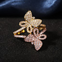 Cars & Motorbikes  - Adjustable Ring AAA Cubic Zirconia Mismatched Gold Brass Butterfly Korean Cute 1pc Adjustable / Women