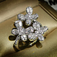 Cars & Motorbikes  - Adjustable Ring AAA Cubic Zirconia Mismatched Silver Brass Flower Sweet 1pc Adjustable / Women