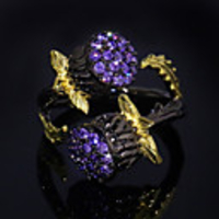 Cars & Motorbikes  - Adjustable Ring AAA Cubic Zirconia Two Stone Black Brass Flower Shape Natural Colorful 1pc Adjustable / Women
