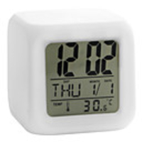 Consumer Electronics  - Colorful Glowing Cubic Digital Alarm Clock Calendar Thermometer 1pc(White, 4xAAA)