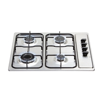 Ovens & Cookers  - Matrix MHG100SS Gas Hob 4 Burner Side Knob Control Stainless Steel