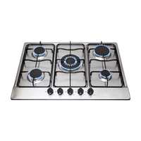 Ovens & Cookers  - Matrix MHG200SS Gas Hob 5 Burner Front Control 70cm Stainless Steel