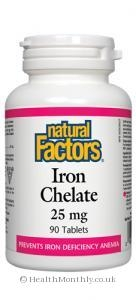 Treatment & Prevention|Multivitamins & Minerals  - Natural Factors Iron Chelate (25mg, 90 Tablets)