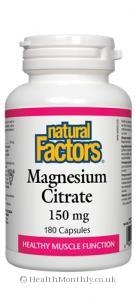 Multivitamins & Minerals|Oils & Aromatherapy  - Natural Factors Magnesium Citrate (150mg, 180 Capsules)