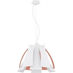 Tressi Single Light Large Ceiling Pendant in White And Orange Finish