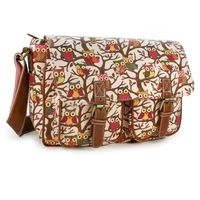 "Cases & Bags|Communication & Mobile Phones  - TLC Ladies Canvas Lulu Satchel Bag Owl print for 10"" Tablet - Pink"