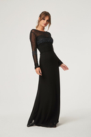 Clothing & Accessories  - Little Mistress Georgie Black Hand Embellished Maxi Dress