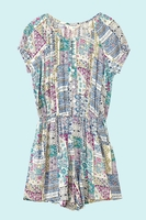 Skirts  - Yumi Girls Patchwork Print Short Sleeve Playsuit