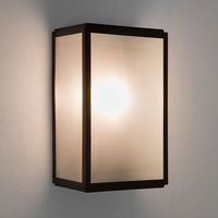 Outdoor Lighting  - Astro Homefield Outdoor Wall Light with Microwave Sensor - Black with Frosted Glass