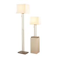 Lighting  - Dar Picasso Floor and Table Lamp Set - Antique Brass