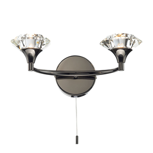 Luther Twin Wall Light - Black Chrome