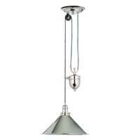 Decorative Lighting  - Elstead Provence Rise and Fall Ceiling Pendant Light - Polished Nickel