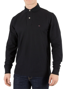 Tommy Hilfiger Flag Black Performance Longsleeved Polo Shirt