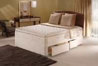 Divan Beds|Storage Boxes  - Sealy Posturepedic Gold Collection Sprung base Autumn Mist 4ft Small Double Divan Bed