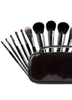 Make Up|Accessories  - 8 Pcs Animal Wool Cosmetic Brush Set With Dark Brown Leather Bag