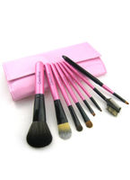 Make Up|Accessories  - 8 Pcs Animal Wool Cosmetic Brushes With Pink Leather Bag