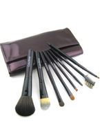 Make Up|Accessories  - 8 Piece Make Up Brushes With Dark Purple Leather Brush Case