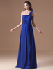 A-line Chiffon Royal Blue Floor-Length Evening Dress with One-Shoulder Cascading Ruffle