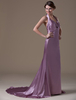 A-line Lilac Elastic Woven Satin Maternity Bridesmaid Dress with Empire Waist