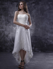 Asymmetrical White Bridal Wedding Dress with Strapless A-line Beading