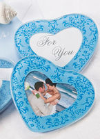 Place Mats & Base Plates|Bridal Wear & Accessories|Wedding  - Baby Blue Heart Shaped Glass Photo Coasters - Set of 2