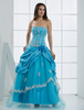 Ball Gown Blue Tulle Strapless Quinceanera Dress