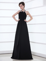 Skirts & Dresses|Special Occasions  - Black Chiffon Rhinestone Halter Evening Dress