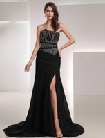 Skirts & Dresses|Special Occasions  - Black Chiffon Split Front Strapless Evening Dress