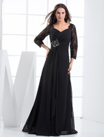 Skirts & Dresses|Special Occasions  - Black Evening Dress Rhinestone Lace Up Chiffon Lace Dress