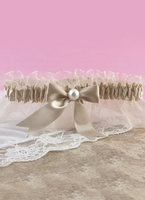 Colour|Bridal Wear & Accessories|Wedding  - Brown Lace Bow Bead Bridal Wedding Garter
