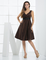 Skirts & Dresses|Special Occasions  - Brown V-Neck Taffeta Cocktail Dress