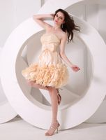 Special Occasions|Costumes  - Champagne A-line Ruffles Chiffon Gorgeous Prom Dress