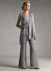 Bridal Wear & Accessories|Dresses & Skirts Classic Silver Gray Chiffon Mother Of The Bride Pant Suits