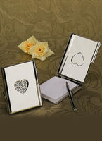 "Bridal Wear & Accessories|Wedding  - ""Love Note"" Silver Toned Luxury Memo Pad And Pen"